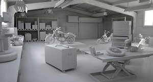 3D model motorcycle interior