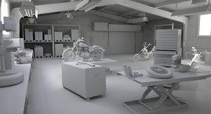 3D model motorcycle interior