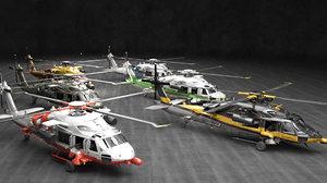 3D model helicopter heli guns