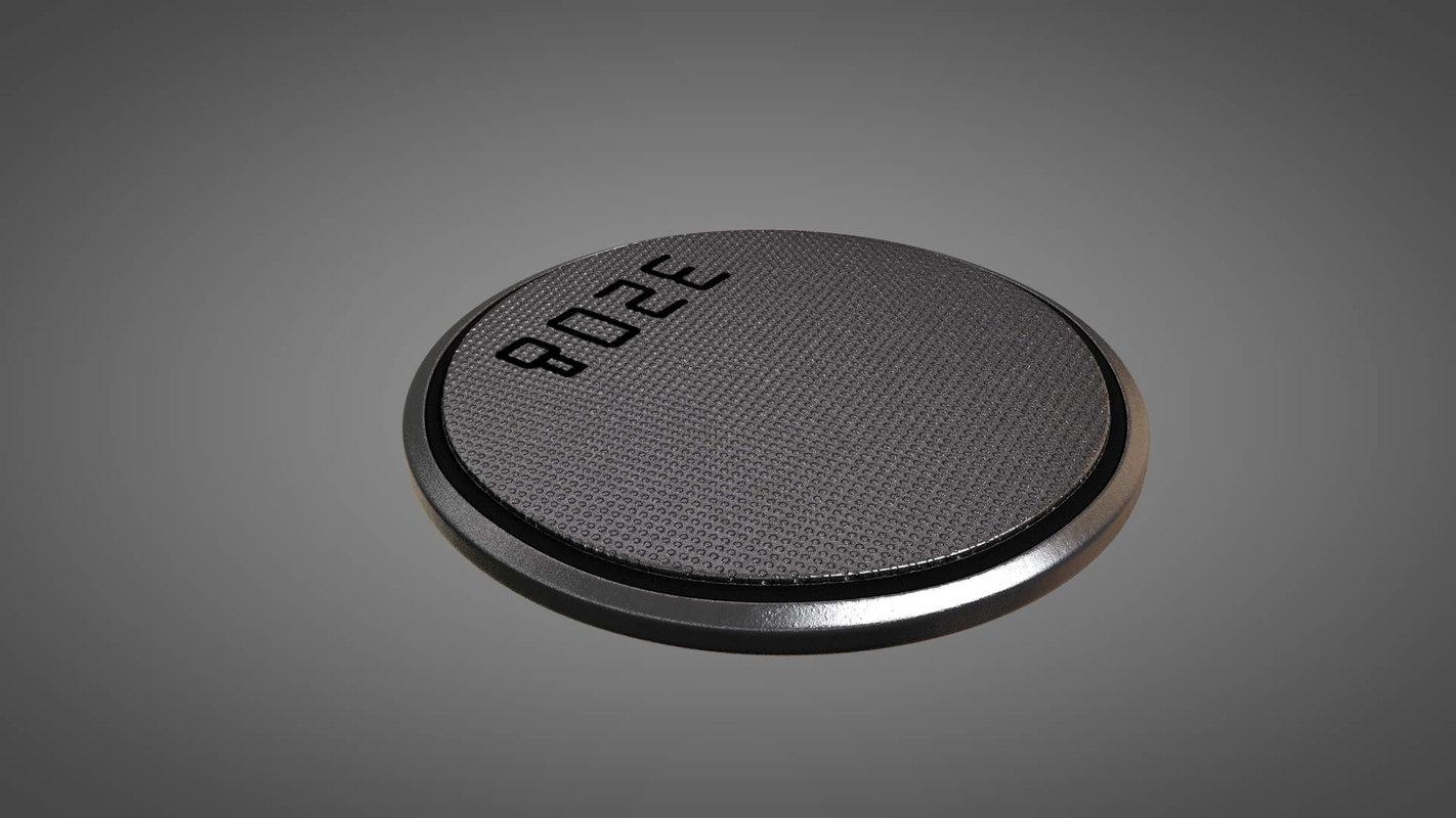 flat button battery cell 3D model
