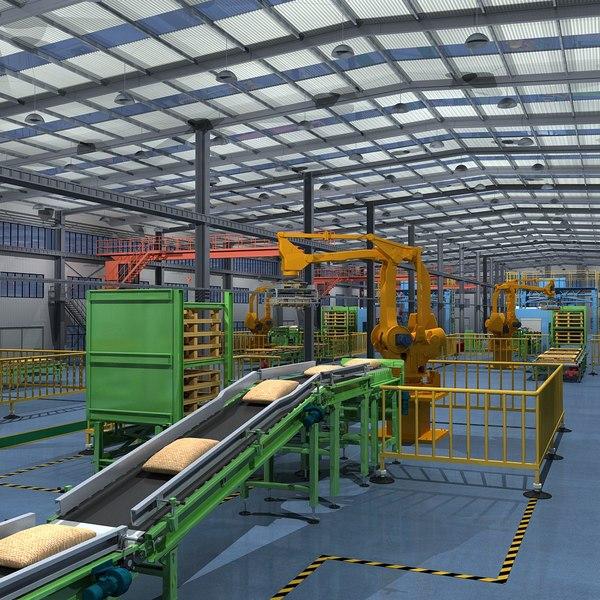 3D model factory interior scene equipment