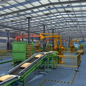 3D model factory interior scene equipment