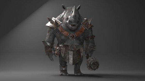 3D rhino warrior character