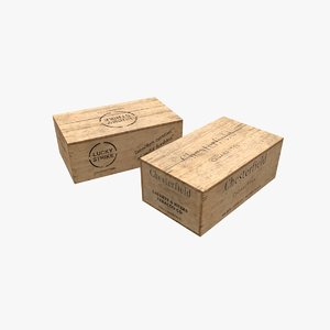 3D model cigarettes wooden boxes