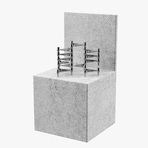 realistic concrete chair home 3D
