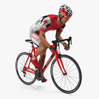 Cyclist Athlete in Red Suit on Bicycle