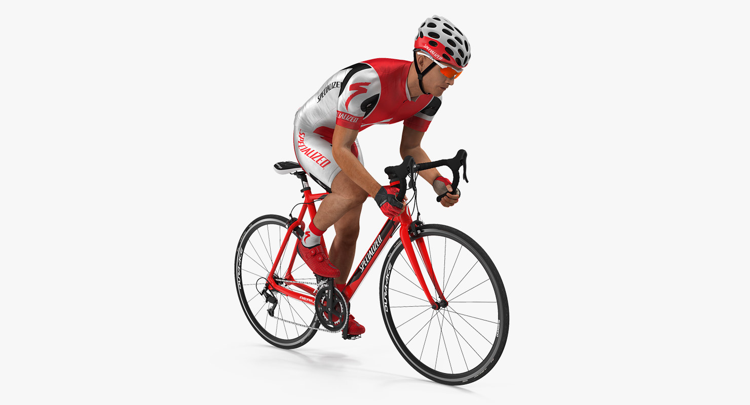 3D model cyclist athlete red suit