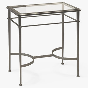 3D square end table metal model