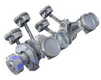 v8 engine cylinders 3D model