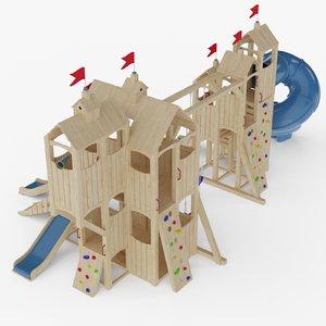 big wooden playground cedar 3D model