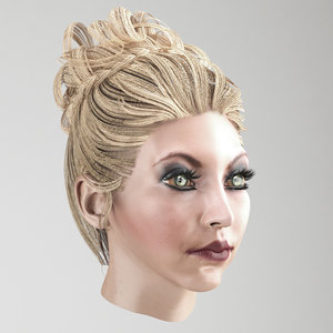 3D model hair female