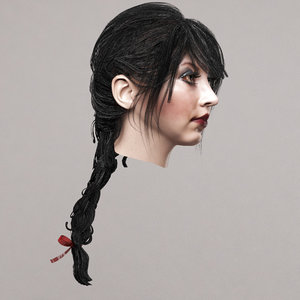 3D female hairstyle model