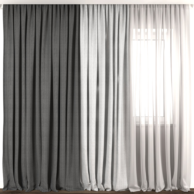 contemporary curtain 3D model