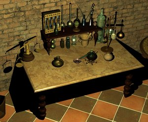 antique scientific equipment 3D