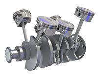 3D model v6 engine cylinders