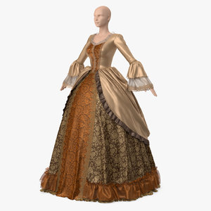 vintage dress yellow 3D model