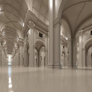 3D classic interior room scene model