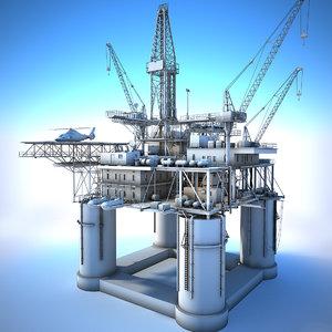 3D oil rig white model