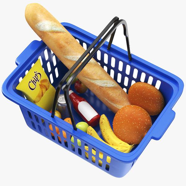 real shopping basket goods 3D model