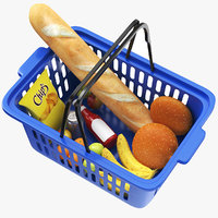 real shopping basket goods 3D model