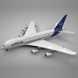 3D airbus a380 lufthansa l091