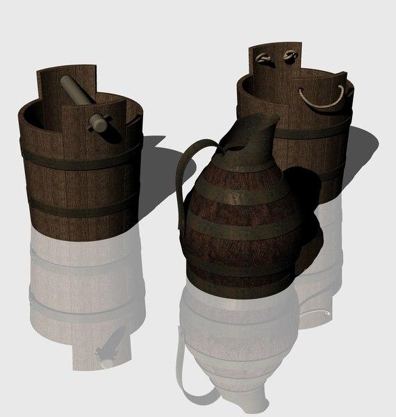 wooden buckets pitcher 3D model