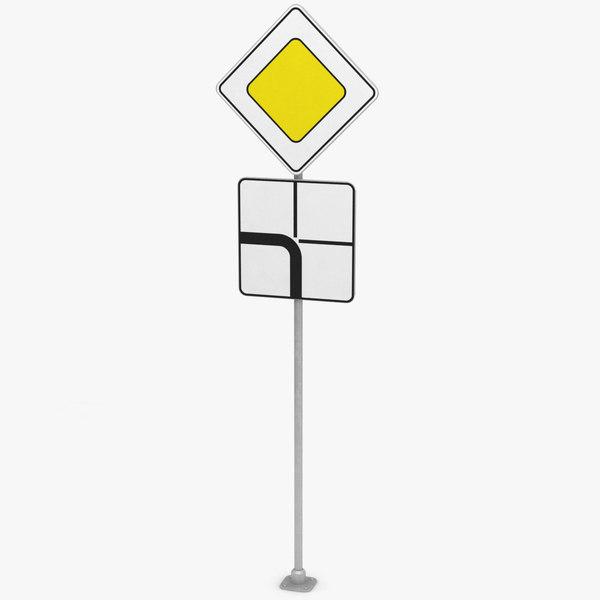 3D traffic sign main road