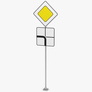 3D traffic sign main road
