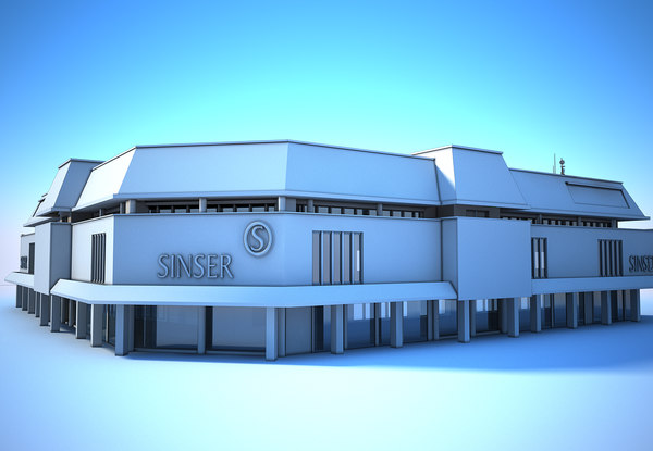 3D building supermarket white