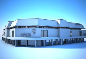 3D building supermarket white