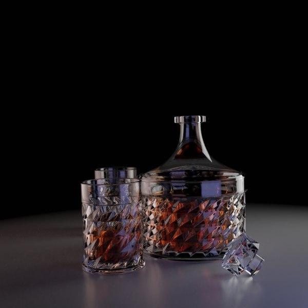 decanter glasses 3D