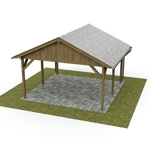 3D model carport wood