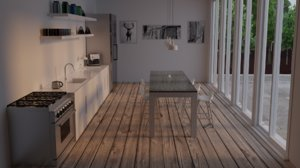 photorealistic kitchen minimal model