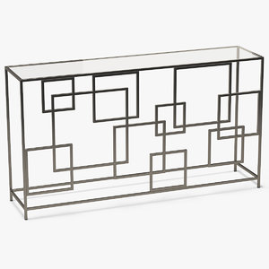 3D model rectangle console table metal