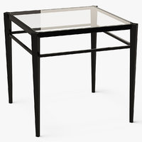 End Table Square Metal/Glass 021