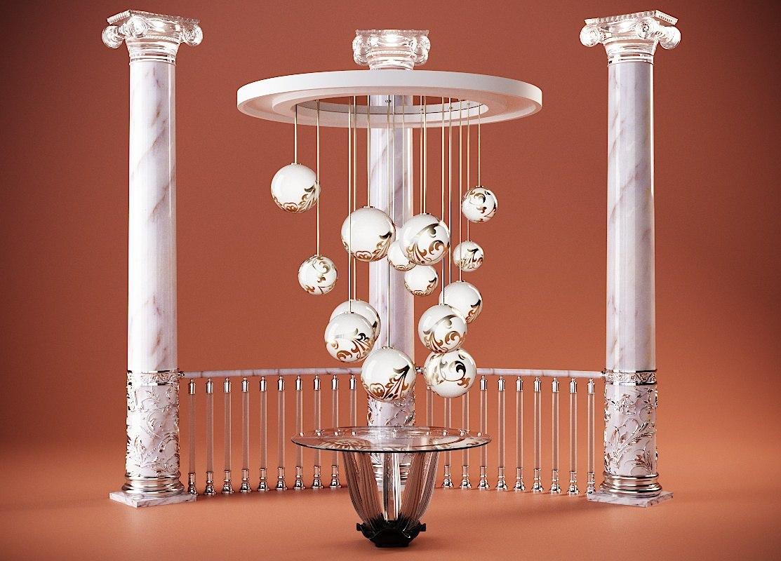 3D interior elements luxury model