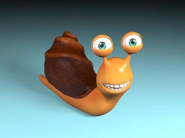 3D cartoon rigged snail shell model