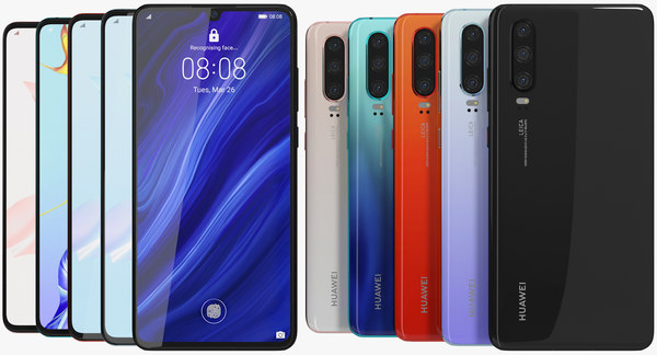 realistic huawei p30 colors 3D model
