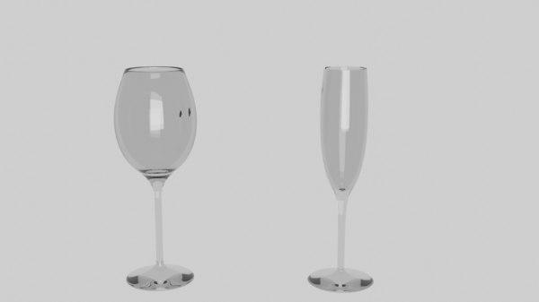 set glass wine 2 3D model