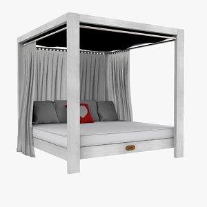 3D white baldaquin bed
