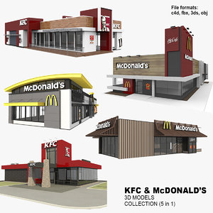 3D 5 kfc mcdonalds restaurants