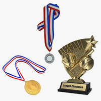 Baseball Trophy and Medals 3D Models Collection