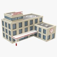 Cartoon Hospital Low Poly 3D Model