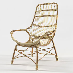 retro rattan lounge chair 3D model
