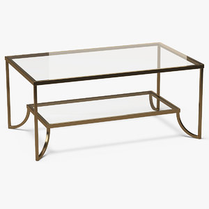 3D model rectangle coffee table metal