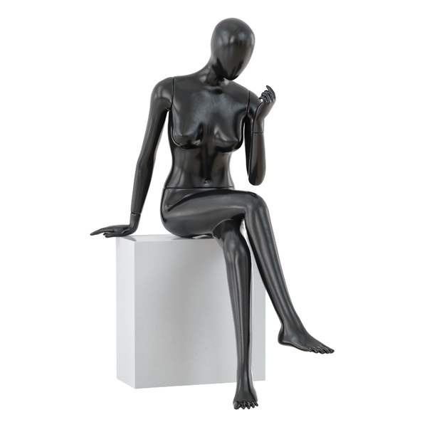 3D abstract sitting woman mannequin model