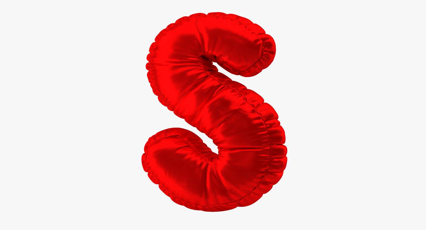 balloon red letter s 3D model