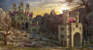 3D river castle fantasy model