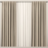 brown tulle curtain 3D model