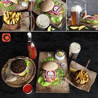 fast food burgers beer 3D model